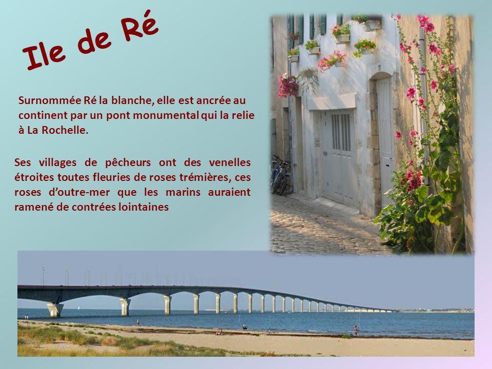 Ile de Ré Surnommée Ré la blanche, elle est ancrée au continent par un pont monumental qui la relie à La Rochelle.