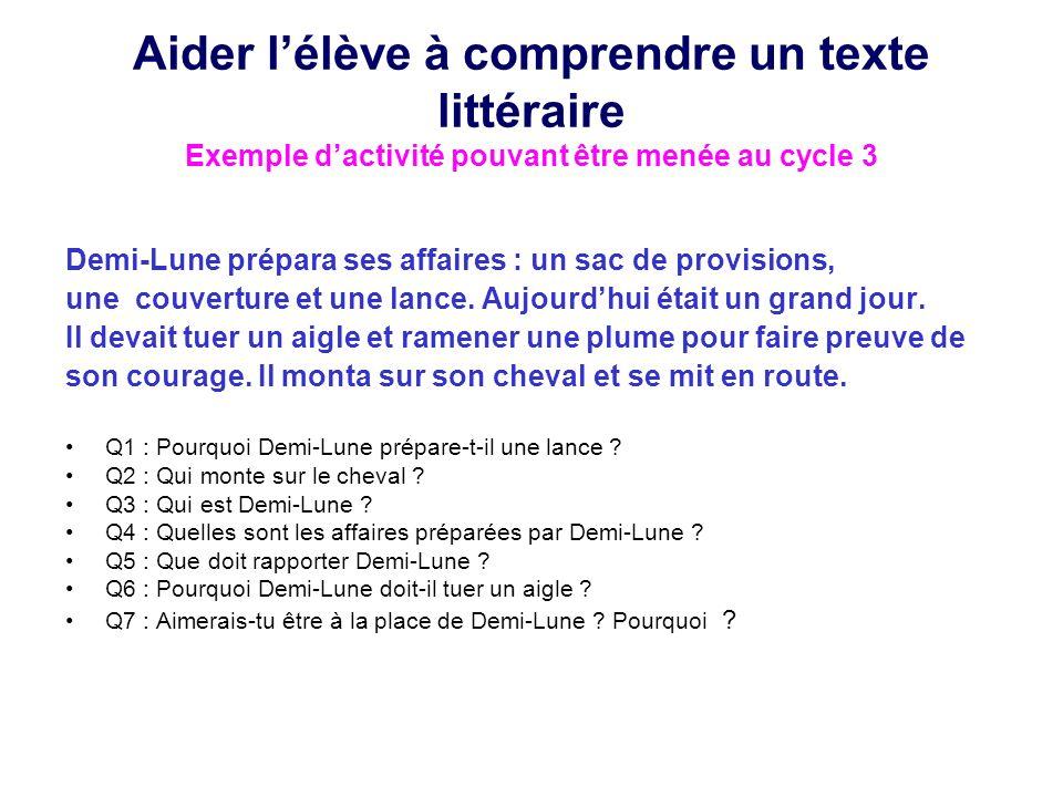 Aider l'élève à comprendre un texte littéraire Exemple d'activité pouvant être menée au cycle 3