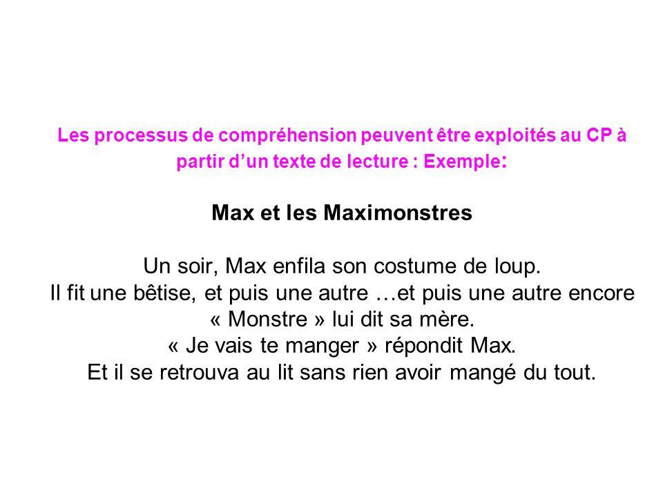 Les processus de compréhension peuvent être exploités au CP à partir d'un texte de lecture : Exemple: Max et les Maximonstres Un soir, Max enfila son costume de loup.