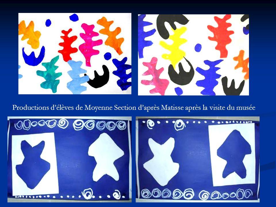 Productions d'élèves de Moyenne Section d'après Matisse après la visite du musée