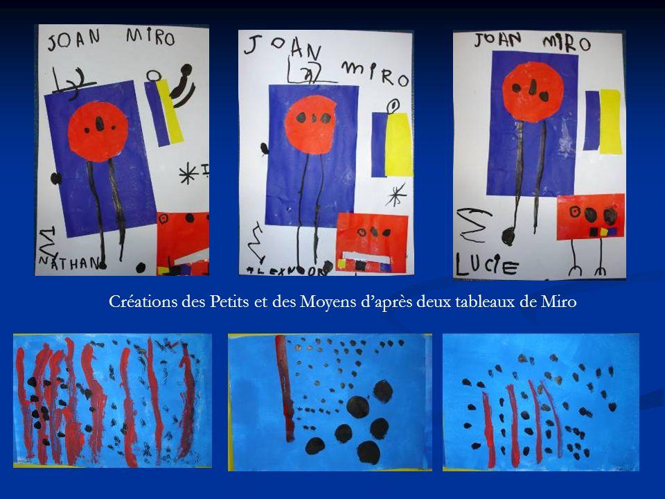 Créations des Petits et des Moyens d'après deux tableaux de Miro