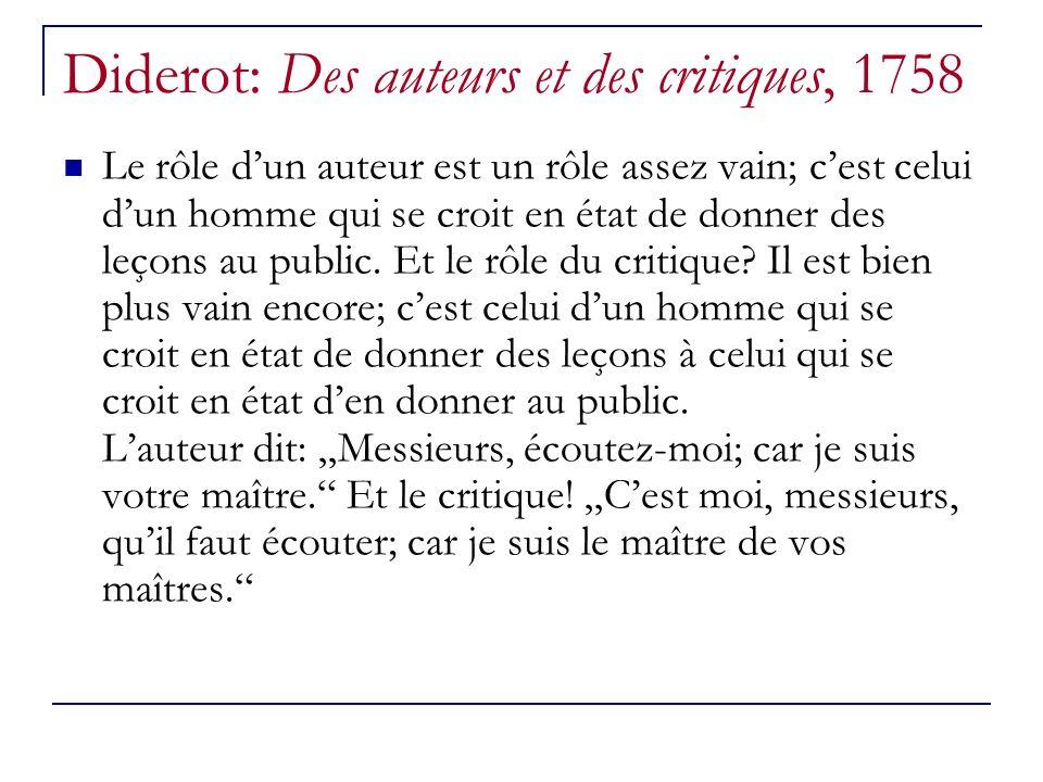 Diderot: Des auteurs et des critiques, 1758