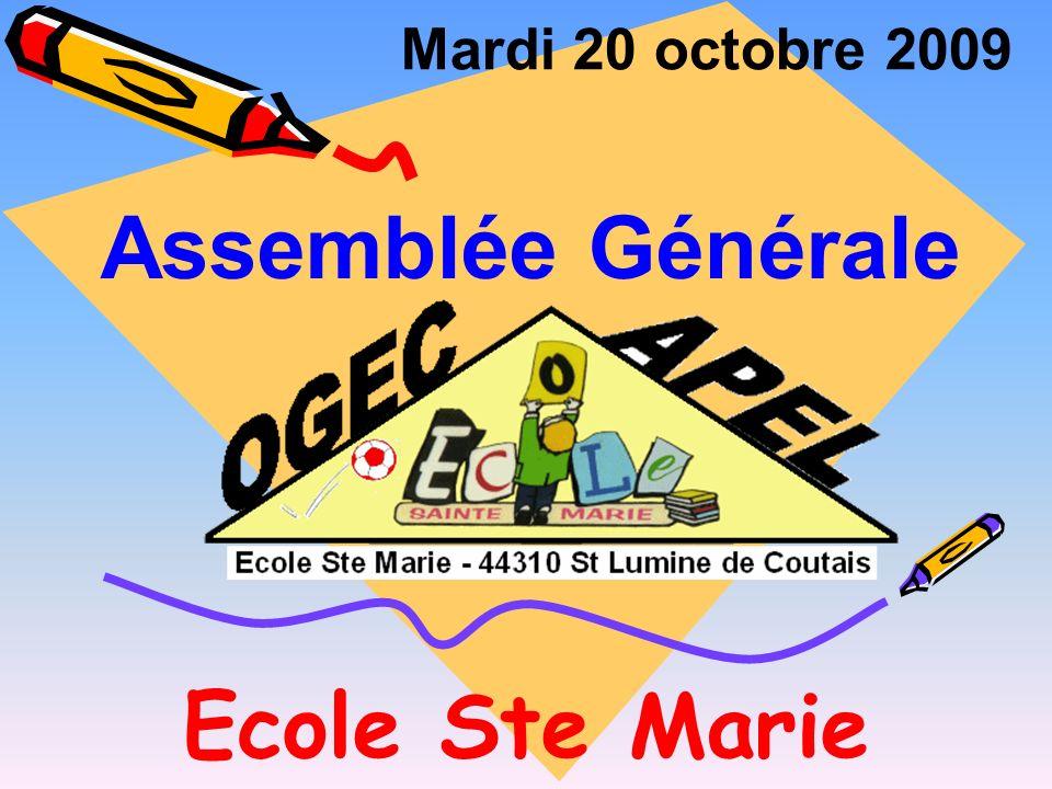 Mardi 20 octobre 2009 Assemblée Générale Ecole Ste Marie