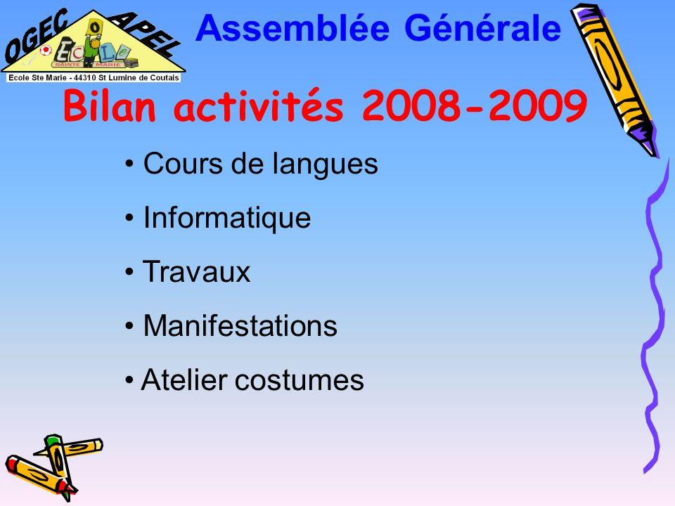 Bilan activités 2008-2009 Assemblée Générale Cours de langues