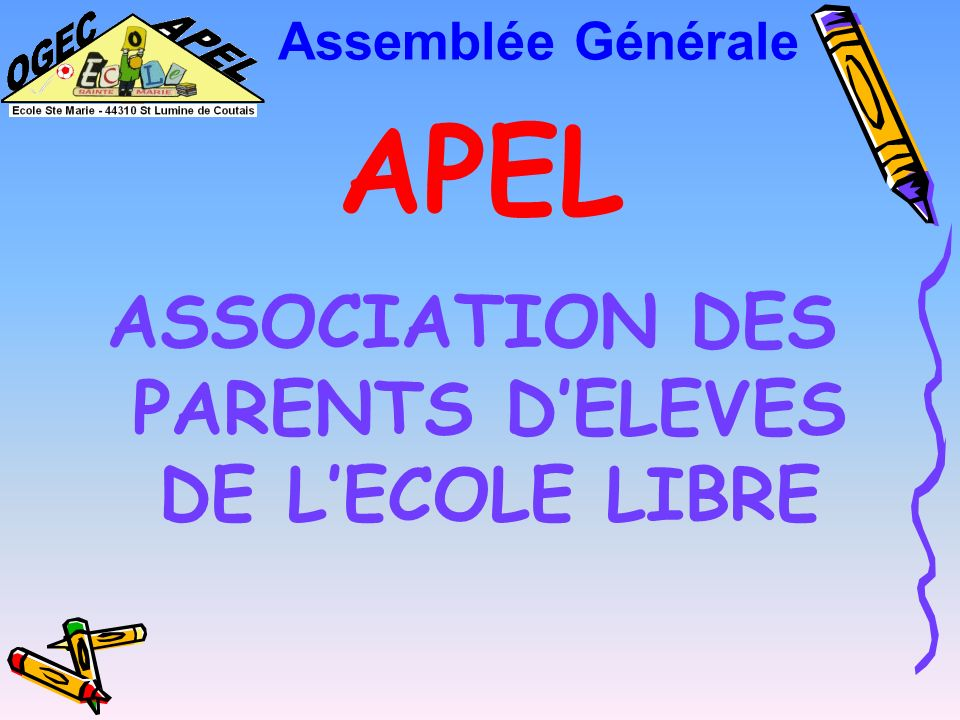 ASSOCIATION DES PARENTS D'ELEVES DE L'ECOLE LIBRE