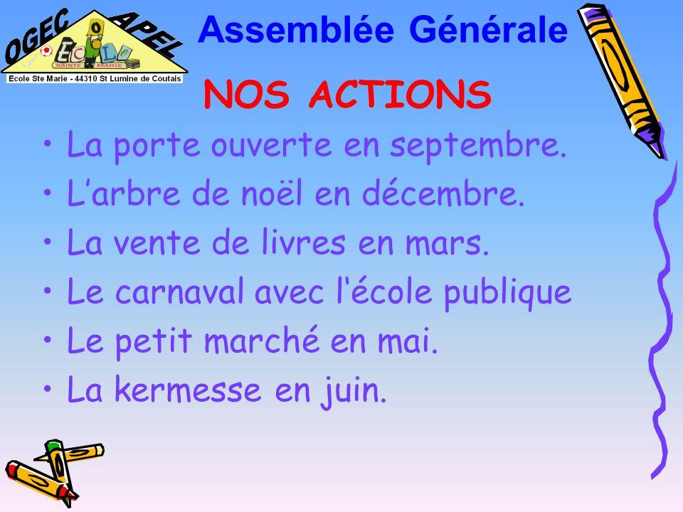 Assemblée Générale NOS ACTIONS La porte ouverte en septembre.