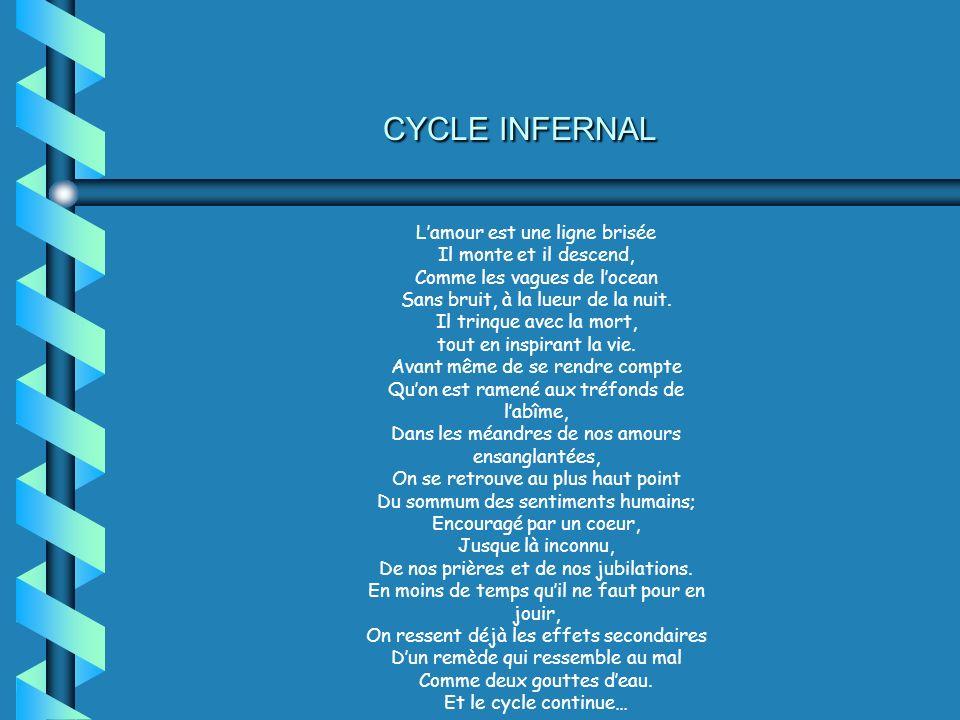 CYCLE INFERNAL L'amour est une ligne brisée Il monte et il descend,