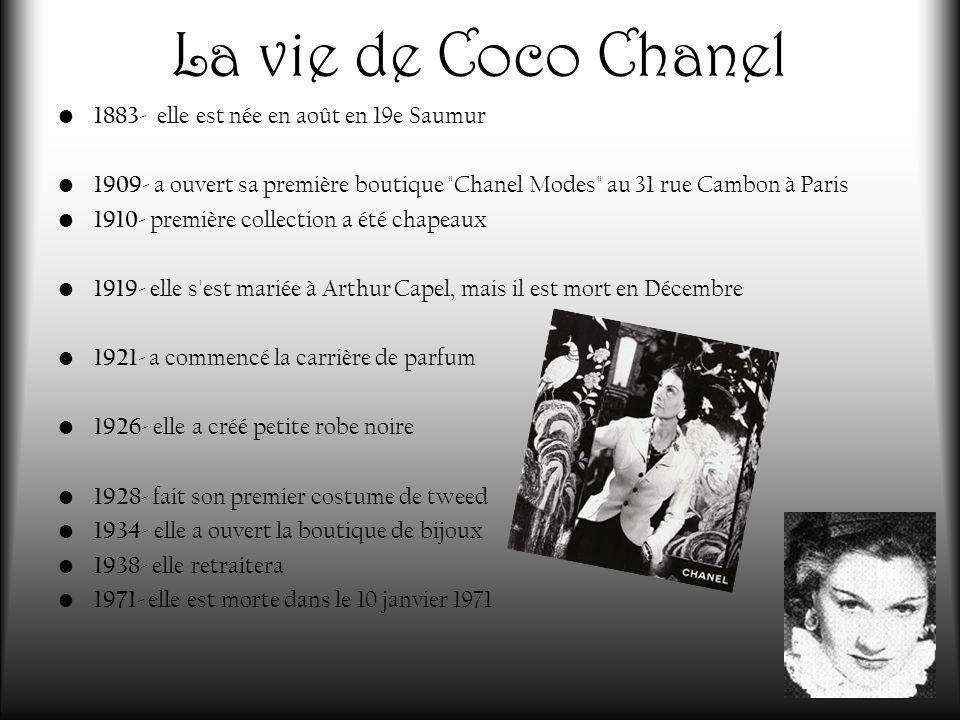 La vie de Coco Chanel 1883- elle est née en août en 19e Saumur