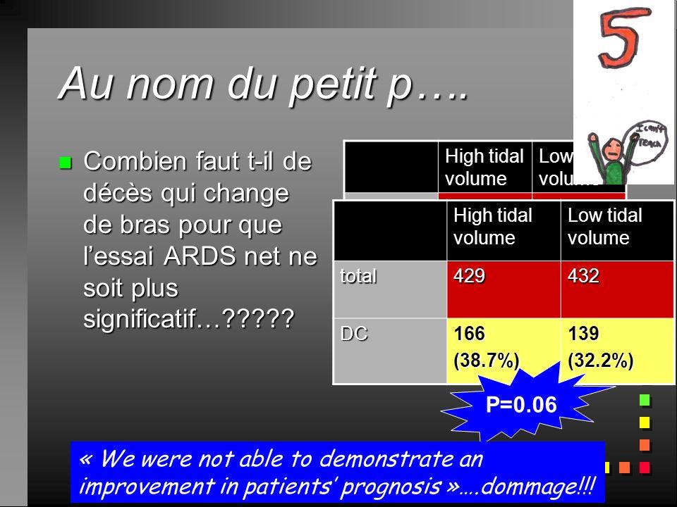 Au nom du petit p…. Combien faut t-il de décès qui change de bras pour que l'essai ARDS net ne soit plus significatif…