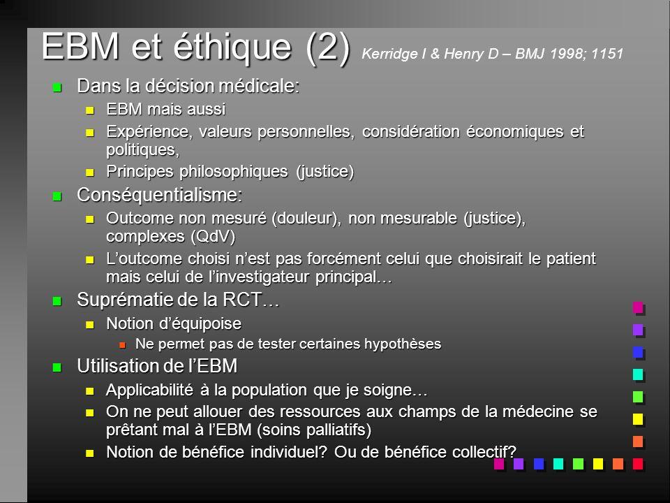 EBM et éthique (2) Kerridge I & Henry D – BMJ 1998; 1151