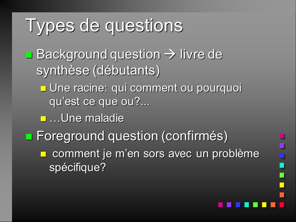 Types de questions Background question  livre de synthèse (débutants)