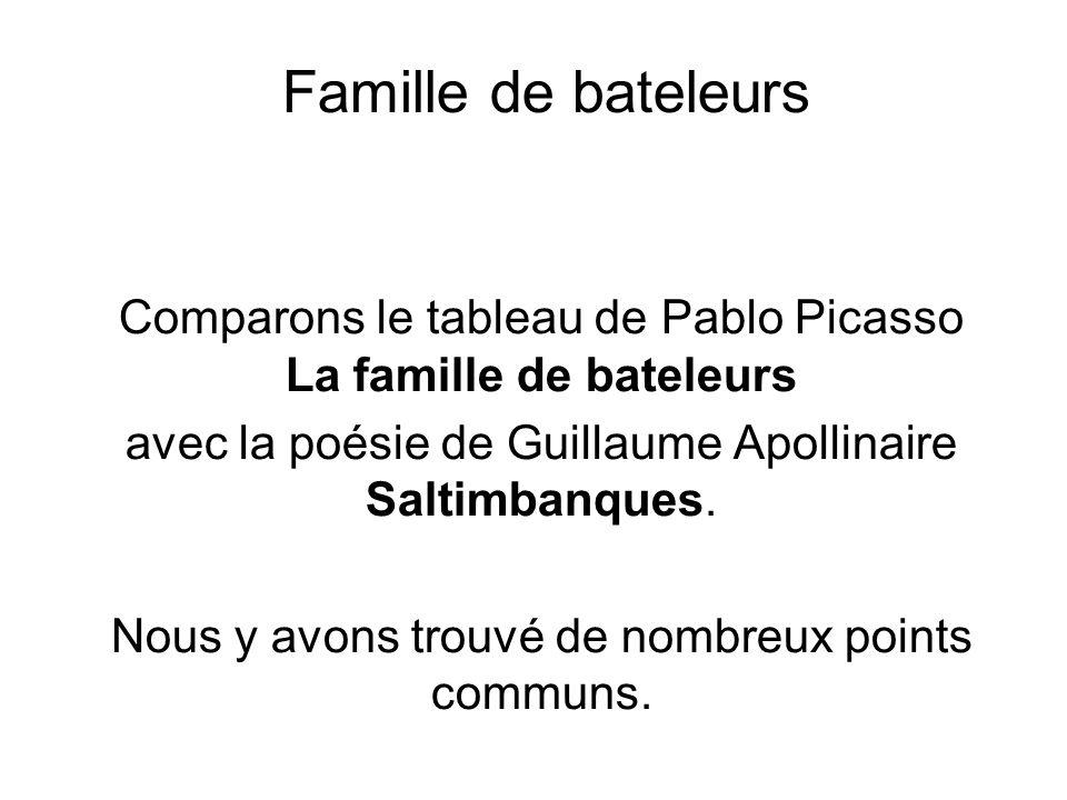 Famille de bateleurs Comparons le tableau de Pablo Picasso La famille de bateleurs. avec la poésie de Guillaume Apollinaire Saltimbanques.
