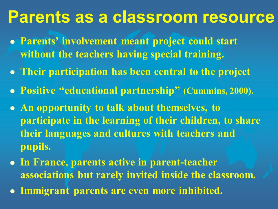 Parents as a classroom resource