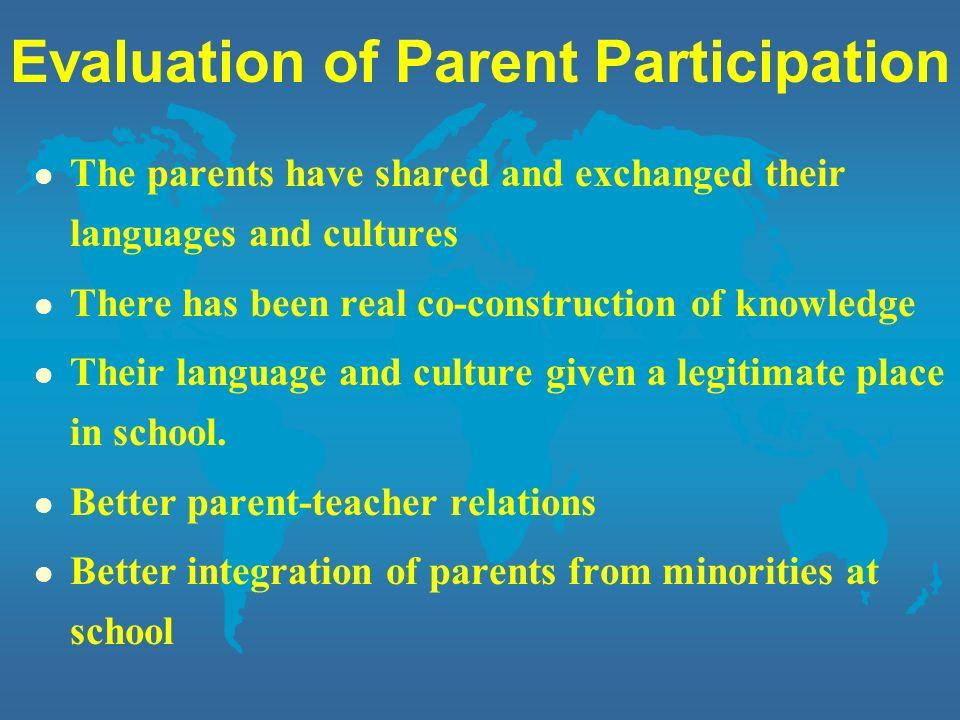 Evaluation of Parent Participation