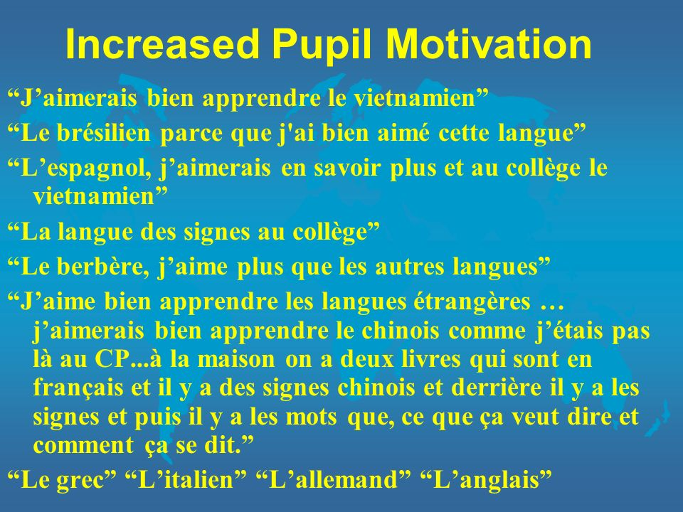 Increased Pupil Motivation