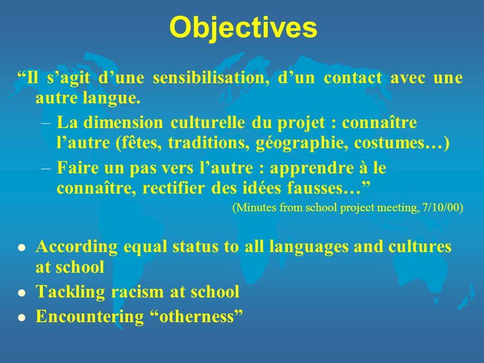 Objectives Il s'agit d'une sensibilisation, d'un contact avec une autre langue.