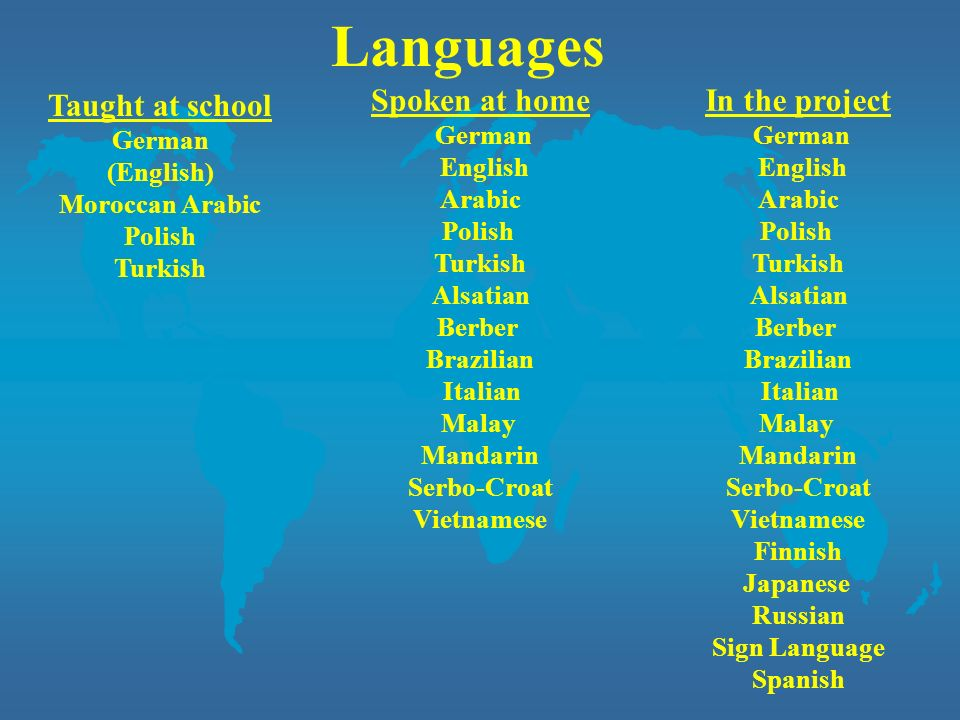Languages Taught at school Spoken at home In the project German