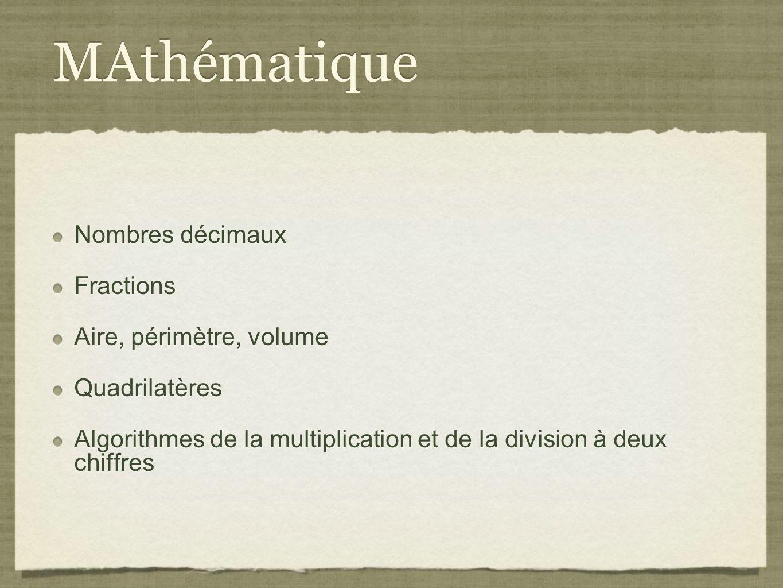 MAthématique Nombres décimaux Fractions Aire, périmètre, volume