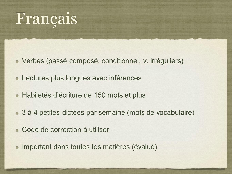 Français Verbes (passé composé, conditionnel, v. irréguliers)
