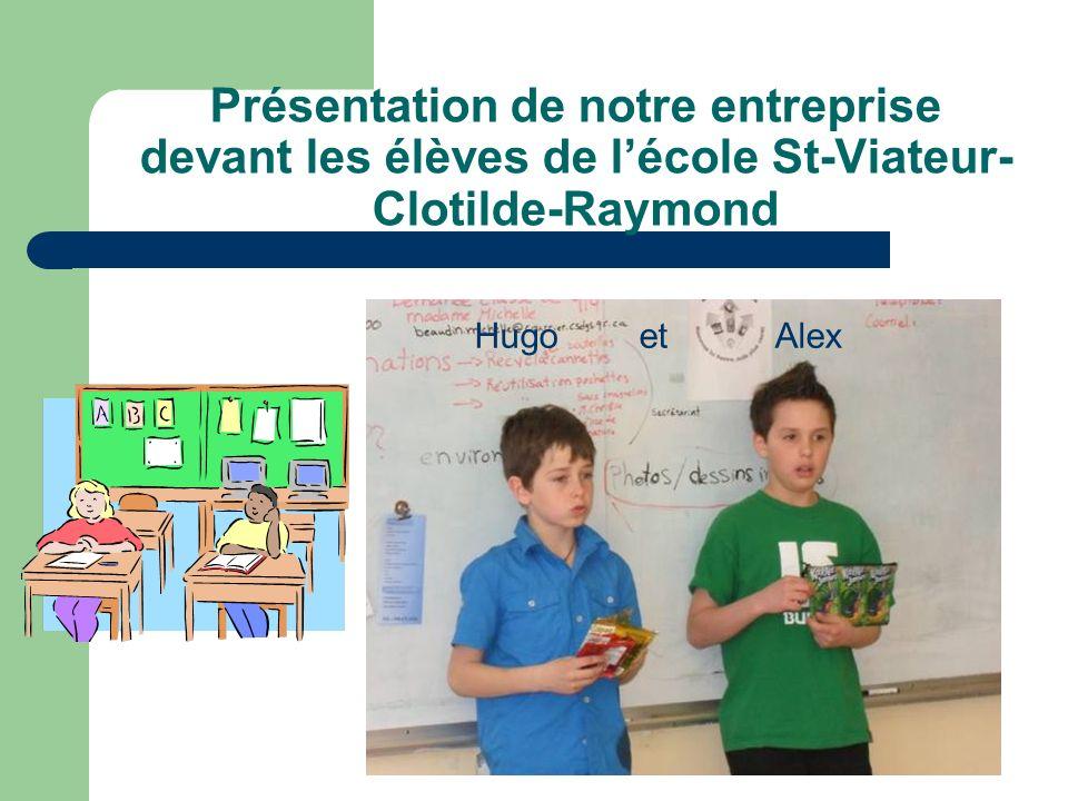 Présentation de notre entreprise devant les élèves de l'école St-Viateur-Clotilde-Raymond