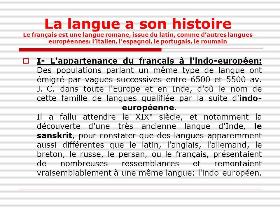 La langue a son histoire Le français est une langue romane, issue du latin, comme d'autres langues européennes: l'italien, l'espagnol, le portugais, le roumain
