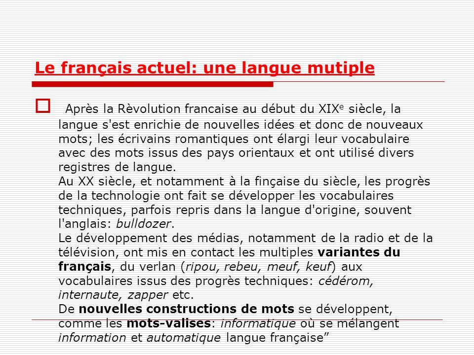 Le français actuel: une langue mutiple