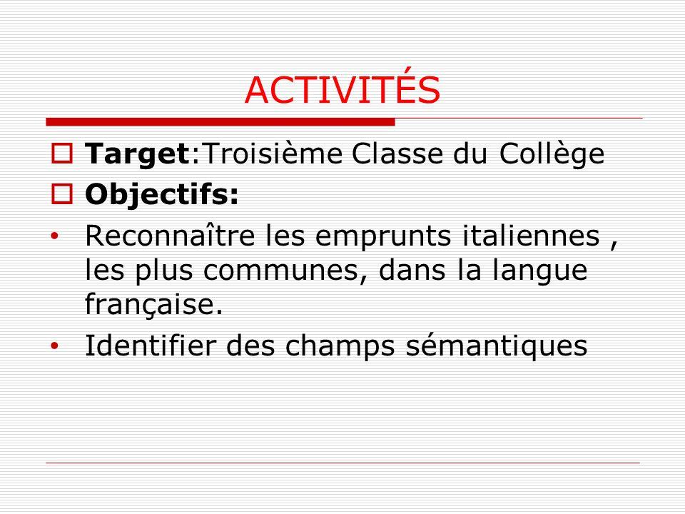 ACTIVITÉS Target:Troisième Classe du Collège Objectifs: