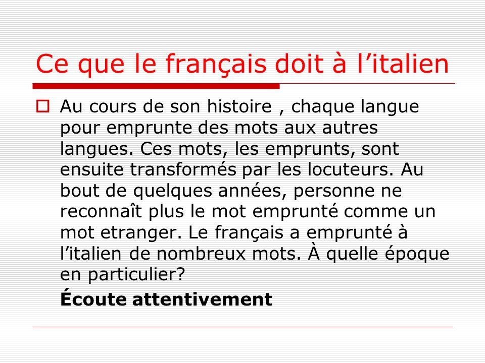 Ce que le français doit à l'italien