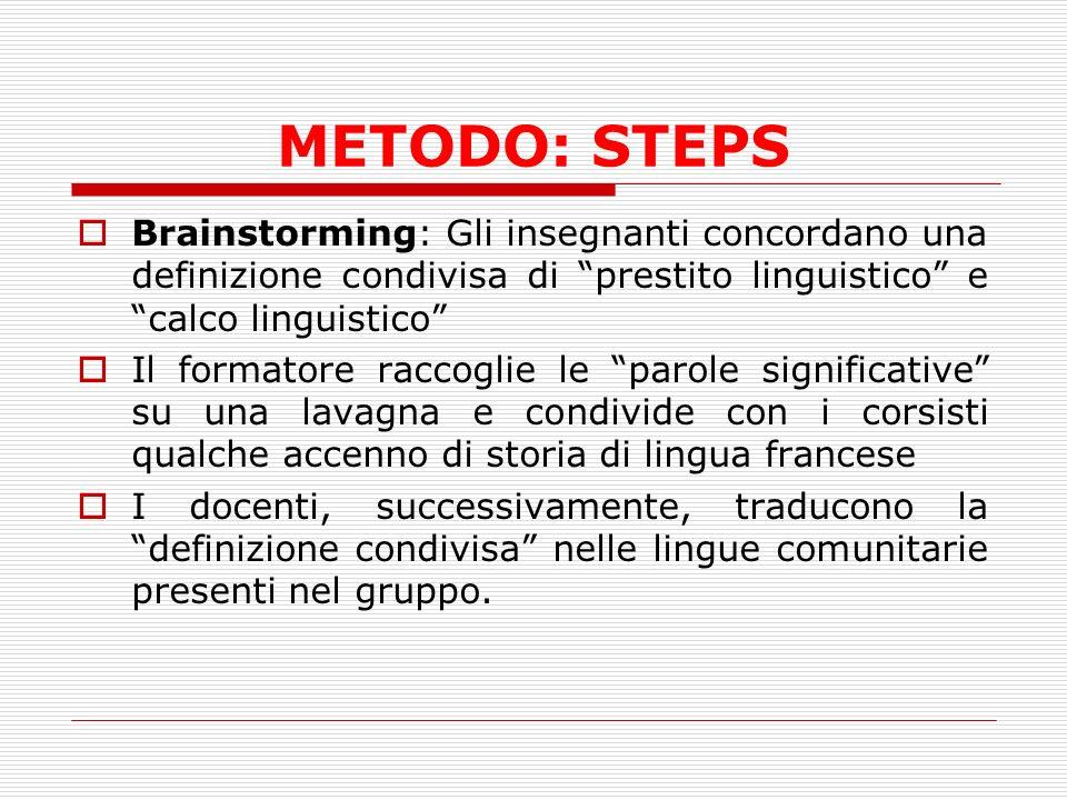 METODO: STEPS Brainstorming: Gli insegnanti concordano una definizione condivisa di prestito linguistico e calco linguistico