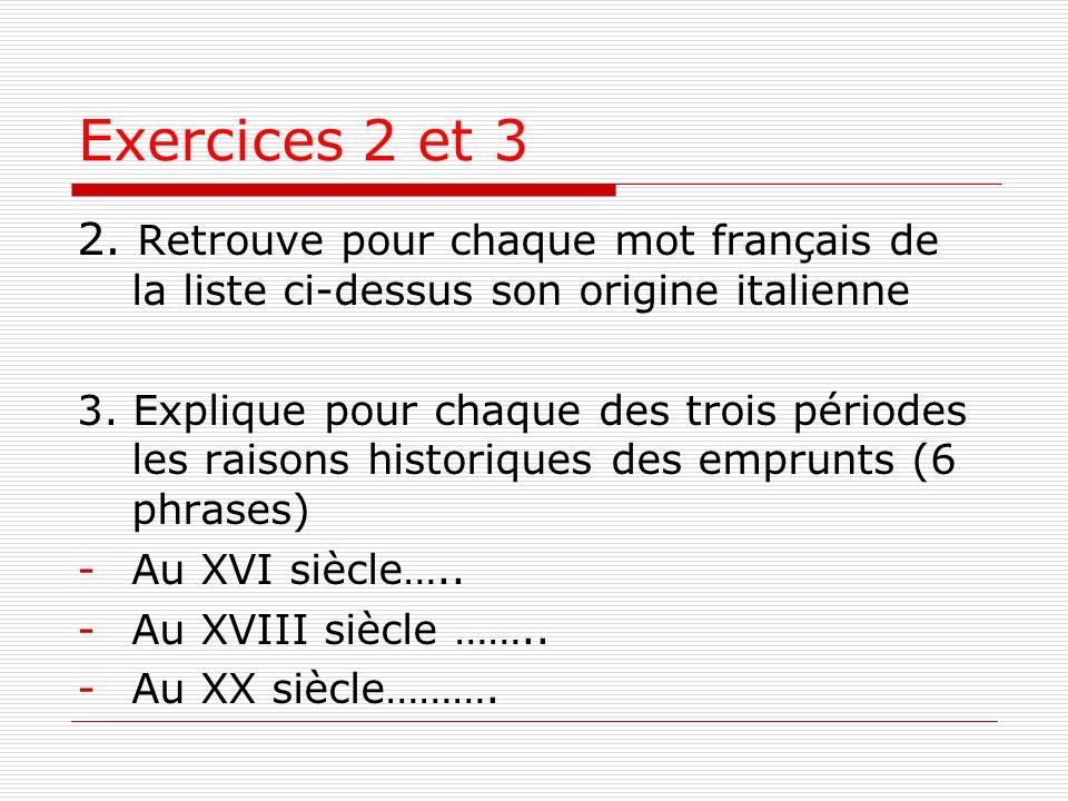 Exercices 2 et 3 2. Retrouve pour chaque mot français de la liste ci-dessus son origine italienne.
