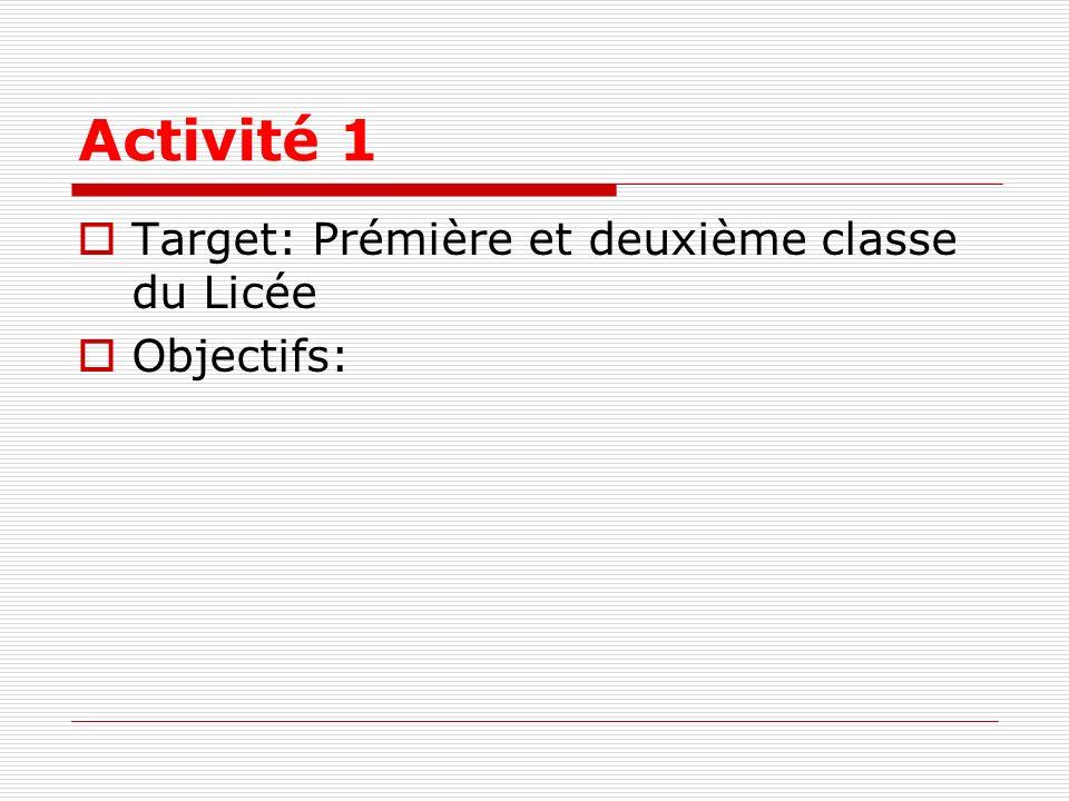 Activité 1 Target: Prémière et deuxième classe du Licée Objectifs: