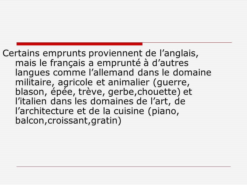 Certains emprunts proviennent de l'anglais, mais le français a emprunté à d'autres langues comme l'allemand dans le domaine militaire, agricole et animalier (guerre, blason, épée, trève, gerbe,chouette) et l'italien dans les domaines de l'art, de l'architecture et de la cuisine (piano, balcon,croissant,gratin)