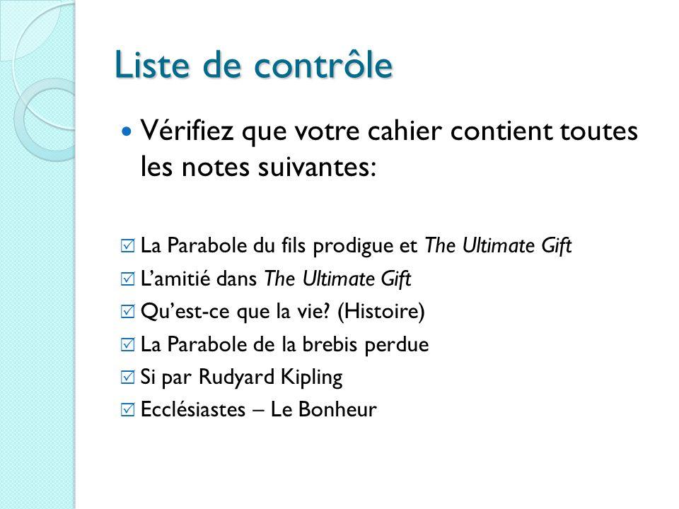Liste de contrôle Vérifiez que votre cahier contient toutes les notes suivantes: La Parabole du fils prodigue et The Ultimate Gift.