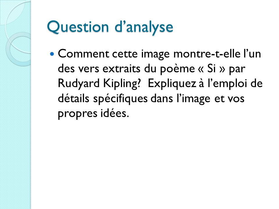 Question d'analyse