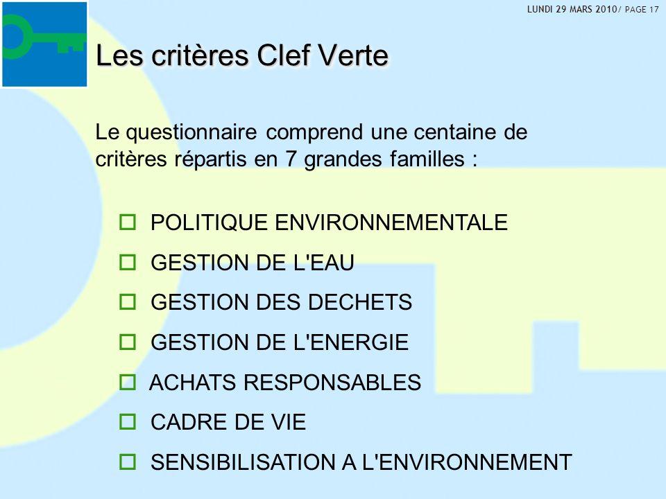 Les critères Clef Verte