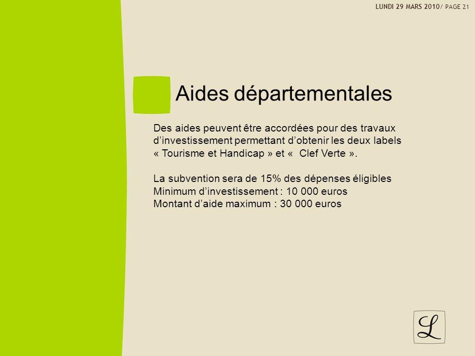 Aides départementales