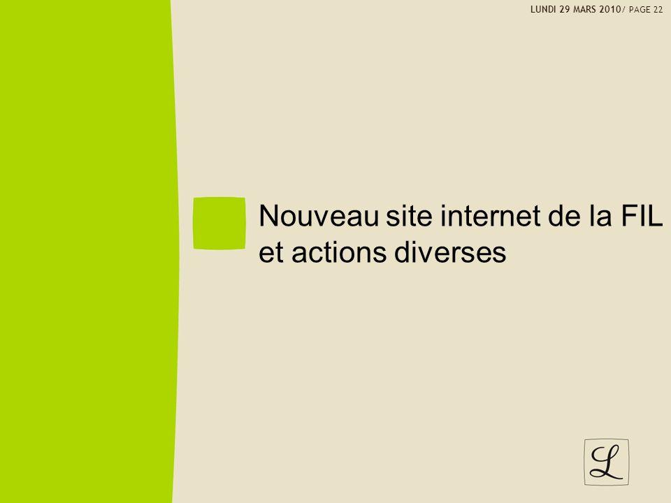 Nouveau site internet de la FIL et actions diverses