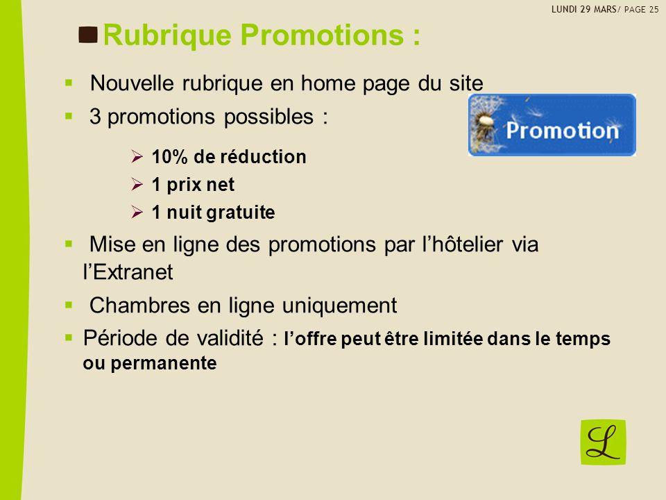 Rubrique Promotions : Nouvelle rubrique en home page du site