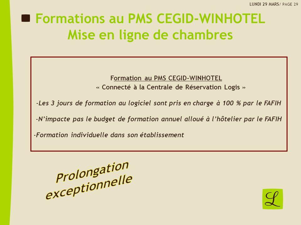 Formations au PMS CEGID-WINHOTEL Mise en ligne de chambres
