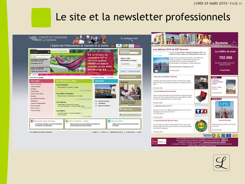 Le site et la newsletter professionnels