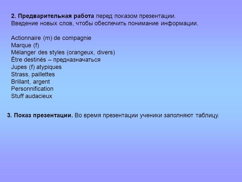 2. Предварительная работа перед показом презентации