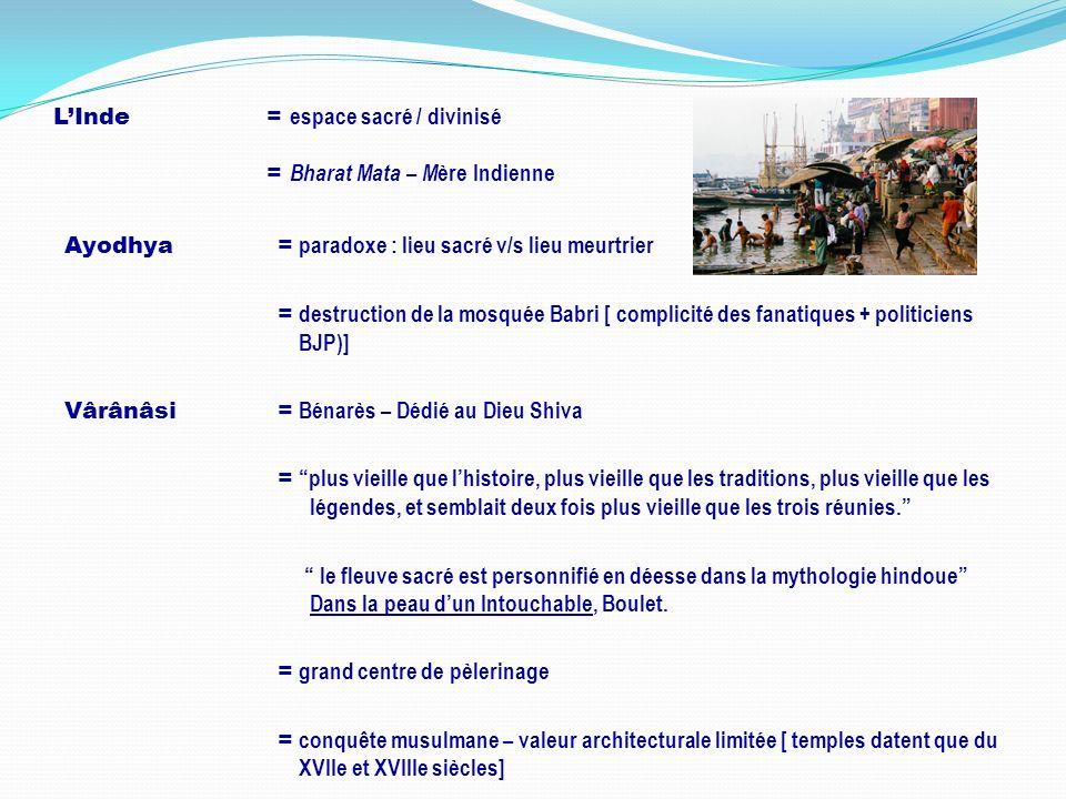 L'Inde = espace sacré / divinisé = Bharat Mata – Mère Indienne