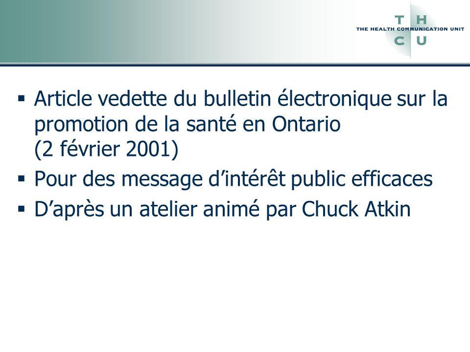Article vedette du bulletin électronique sur la promotion de la santé en Ontario (2 février 2001)