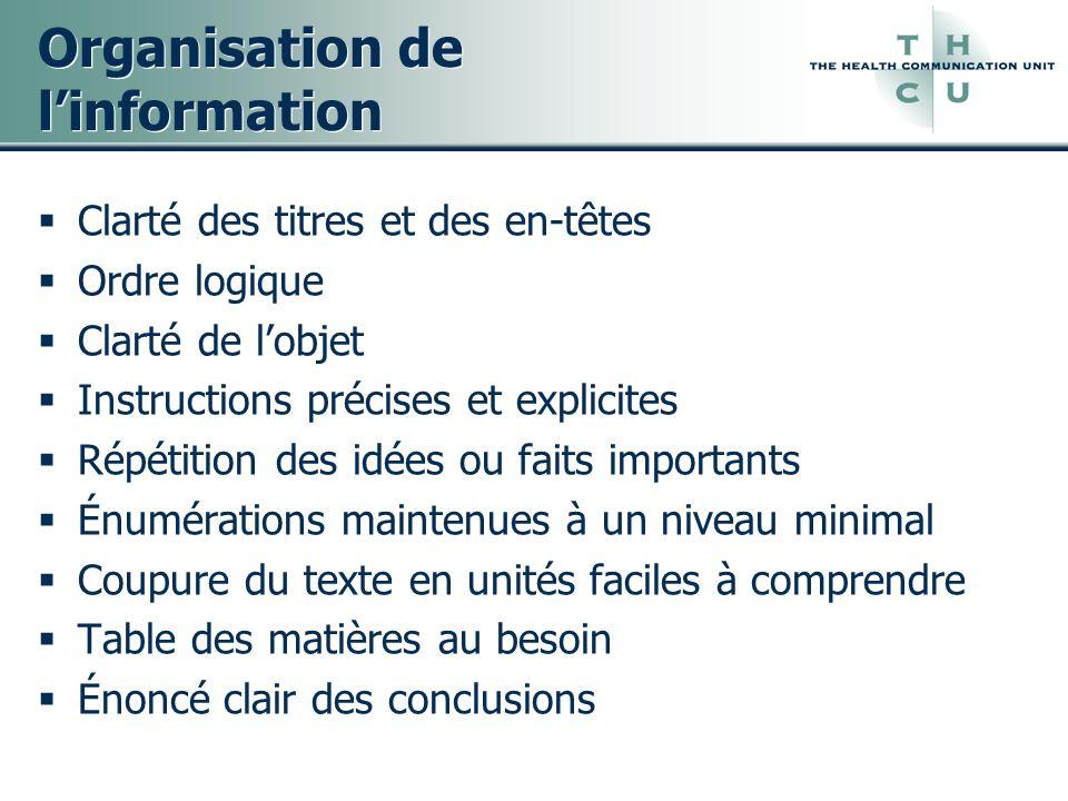 Organisation de l'information