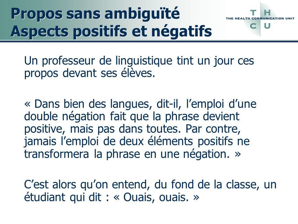 Propos sans ambiguïté Aspects positifs et négatifs
