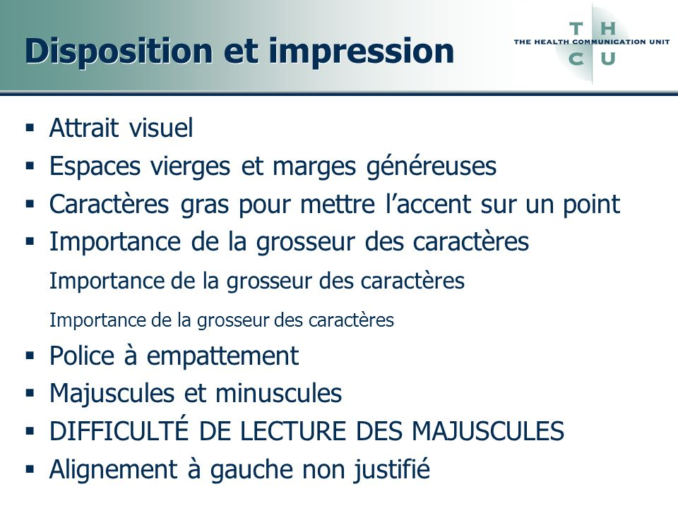 Disposition et impression