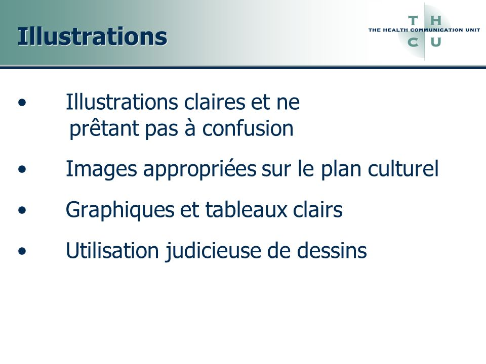 Illustrations Illustrations claires et ne prêtant pas à confusion