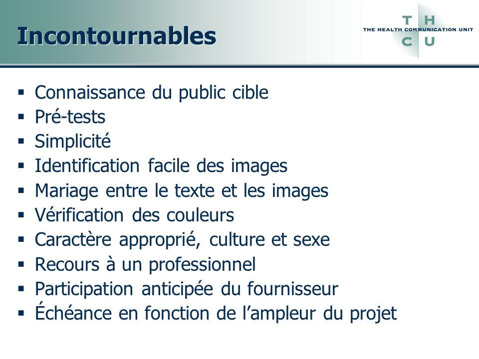 Incontournables Connaissance du public cible Pré-tests Simplicité