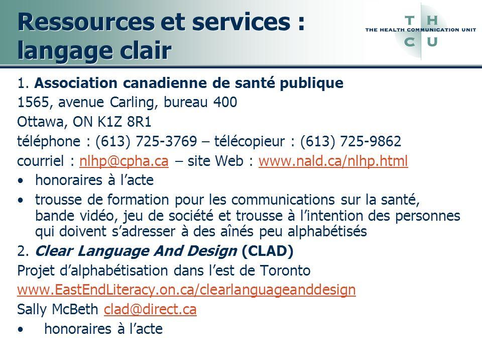 Ressources et services : langage clair