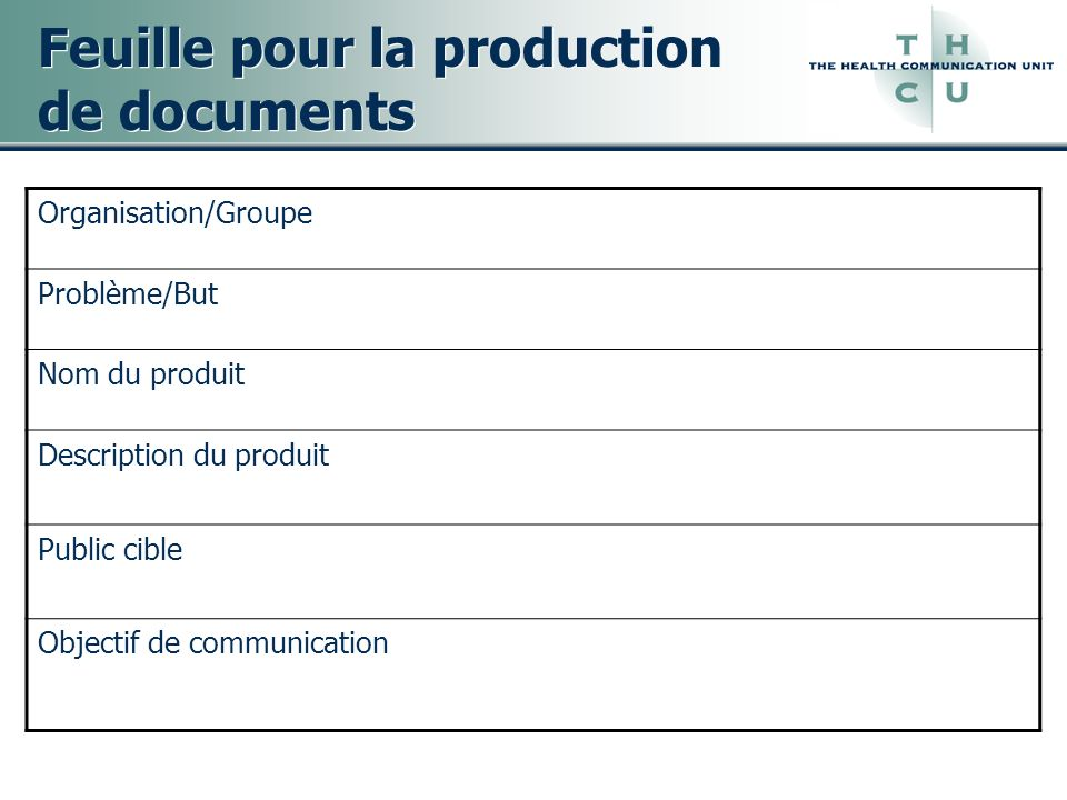 Feuille pour la production de documents